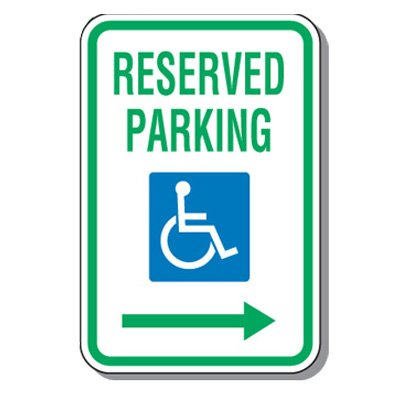 Handicap Parking Signs - Reserved Parking (Right Arrow)