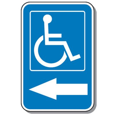Handicap Signs - Symbol of Access & Left Arrow