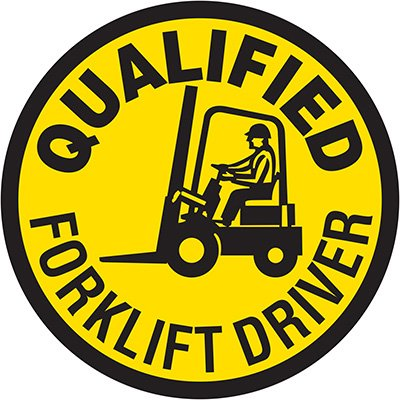 Hard Hat Safety Labels On A Roll -Qualified Forklift Driver
