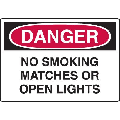 Danger - No Smoking Matches Or Open Lights - Indoor/Outdoor Sign
