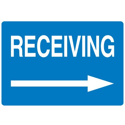 High Visibility Overhead Signs - Receiving (w/ Right Arrow Graphic)