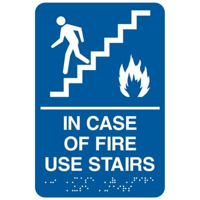In Case Of Fire Use Stairs - Economy Braille Signs
