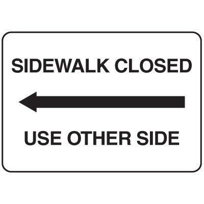 Jumbo Construction Signs - Sidewalk Closed (Arrow Left)
