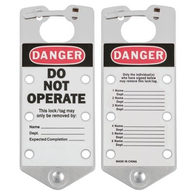 Brady Labeled Lockout Hasps (Silver) - Part Number - 65971 - 5/Pack