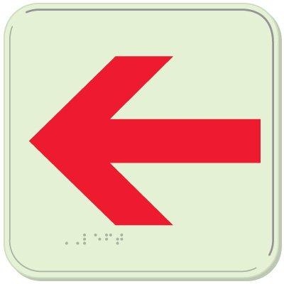 Left Arrow - Glo-Brite® ADA Braille Signs