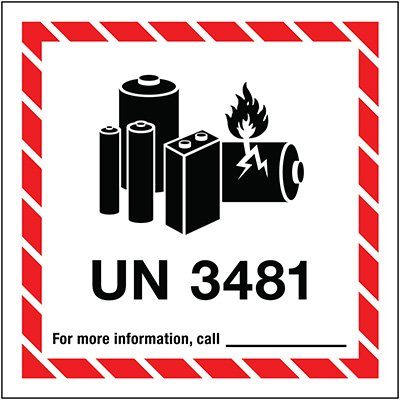 Lithium Battery Label UN3481