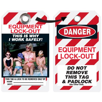 Self-Laminating Employee Photo Lockout Tags - Why I Work Safely
