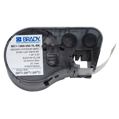Brady MC1-1000-595-YL-BK BMP51/BMP41 Label Cartridge - Black on Yellow