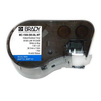 Brady MC-1500-595-BL-WT BMP51/53 Label Cartridge - White on Blue