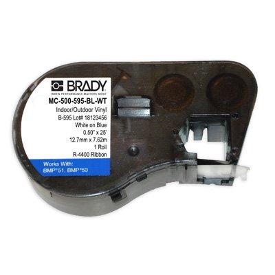 Brady MC-500-595-BL-WT BMP51/BMP41 Label Cartridge - White on Blue