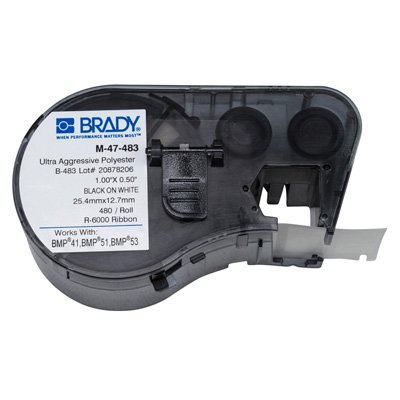 Brady M-47-483 BMP51/BMP41 Label Cartridge - Black on White