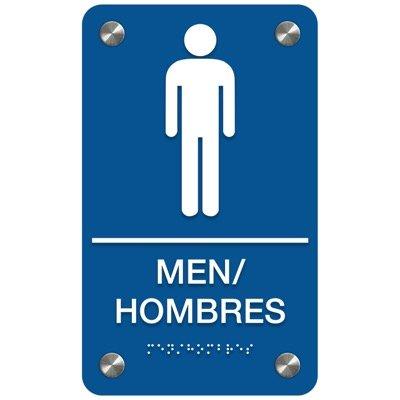 Men - Bilingual Premium ADA Restroom Signs