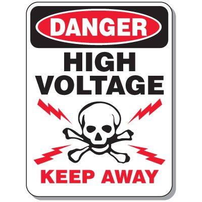 Electrical Safety Signs - Danger High Voltage Keep Away with Graphic
