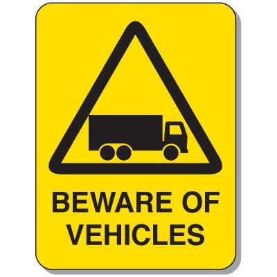 Mining Site Traffic Warning Signs - Beware Of Vehicles