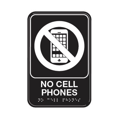 No Cell Phone Sign with Braille & Graphic