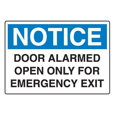 Door, Exit & Security Signs - Door Alarmed