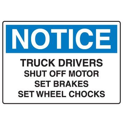 Traffic & Parking Signs - Notice Truck Drivers Shut Off Motor