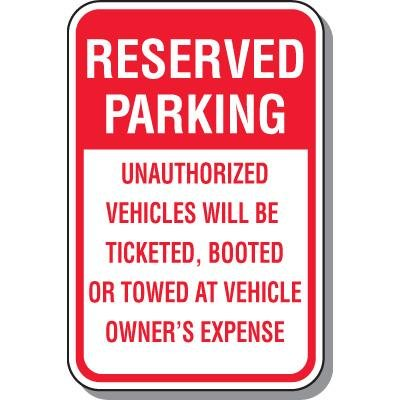 No Parking Signs - Reserved Parking