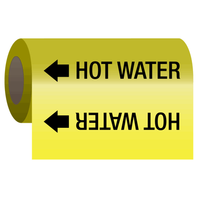 Self-Adhesive Pipe Markers-On-A-Roll - Hot Water