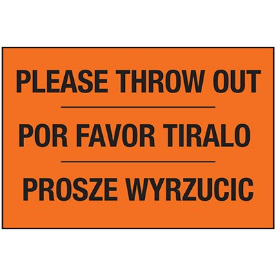 Please Throw Out Housekeeping Label - Trilingual