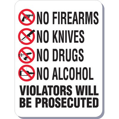 No Prohibited Items Signs