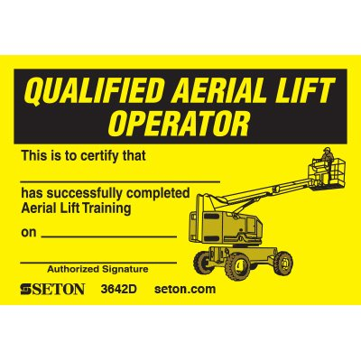 Qualified Aerial Lift Operator Wallet Card