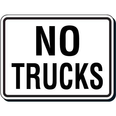 Reflective Parking Lot Signs - No Trucks