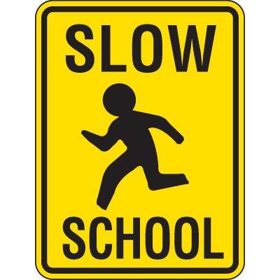 Reflective Pedestrian Crossing Signs - Slow School