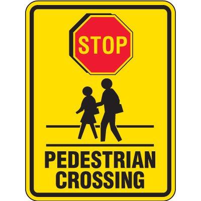 Reflective Pedestrian Crossing Signs - Stop Pedestrian Crossing