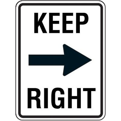 Reflective Speed Limit Signs - Keep Right (with Arrow)