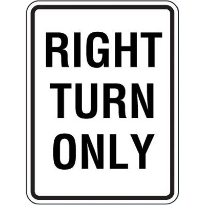 Reflective Speed Limit Signs - Right Turn Only