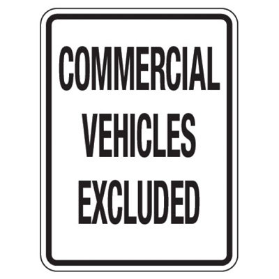 Reflective Traffic Reminder Signs - Commercial Vehicles Excluded