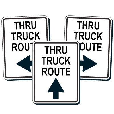 Reflective Traffic Reminder Signs - Thru Truck Route