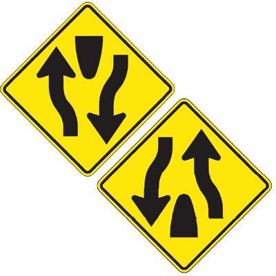 Reflective Warning Signs - Divided Highway (Symbol)