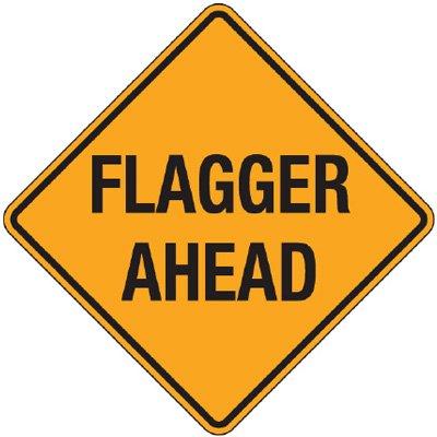 Reflective Warning Signs - Flagger Ahead