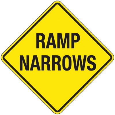 Reflective Warning Signs - Ramp Narrows