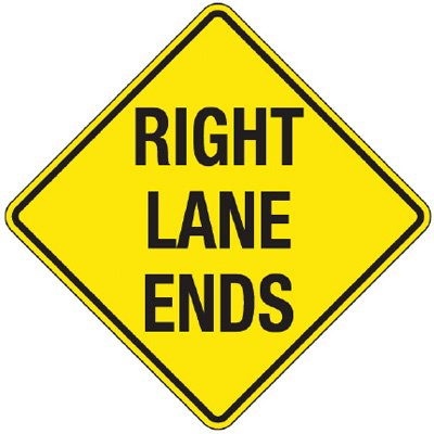 Reflective Warning Signs - Right Lane Ends