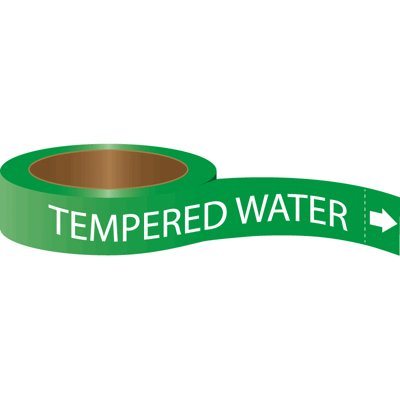 Roll Form Self-Adhesive Pipe Markers - Tempered Water