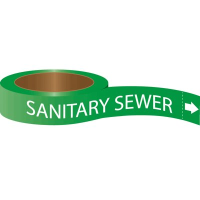 Roll Form Self-Adhesive Pipe Markers - Sanitary Sewer