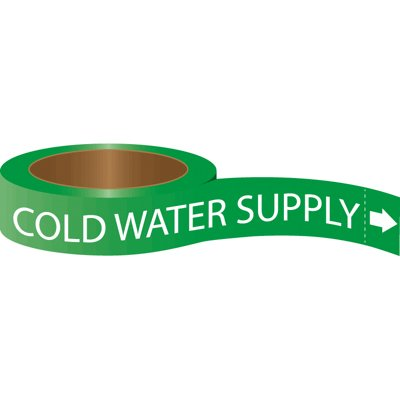 Roll Form Self-Adhesive Pipe Markers - Cold Water Supply