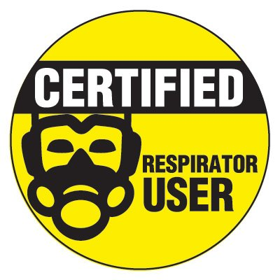 Safety Hard Hat Labels - Certified Respirator User