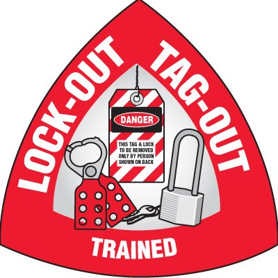 Safety Hard Hat Labels - Lockout Tagout Trained