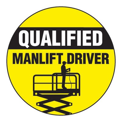 Safety Hard Hat Labels - Qualified Manlift Driver