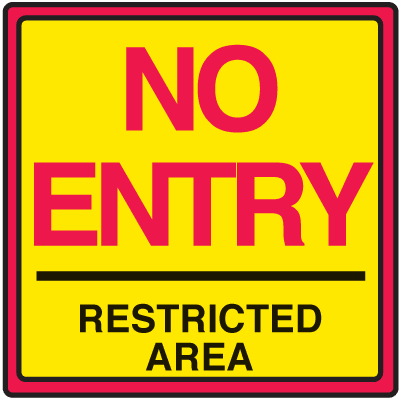 Safety Traffic Cone Signs - No Entry Restricted
