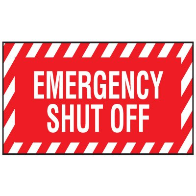 Adhesive Vinyl Fire Exit Signs - Emergency Shut Off