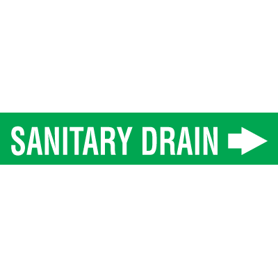 Seton Code™ Economy Self-Adhesive Pipe Markers - Sanitary Drain