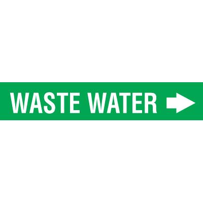 Seton Code™ Economy Self-Adhesive Pipe Markers - Waste Water