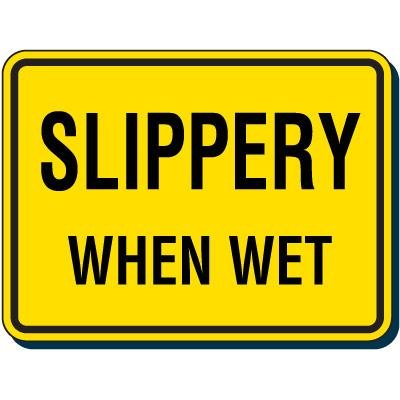 Reflective Traffic Signs - Slippery When Wet