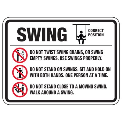 Swing Do Not Twist - Playground Sign