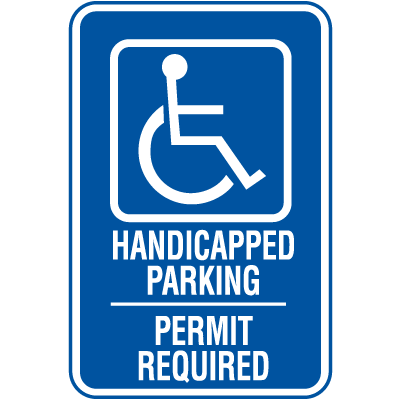Symbol Of Access Handicapped Parking Signs - Permit Required